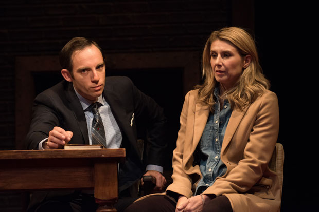 Max Gordon Moore and Nadia Bowers star in a scene from Describe the Night, directed by Giovanna Sardelli, at Atlantic Theater Company.