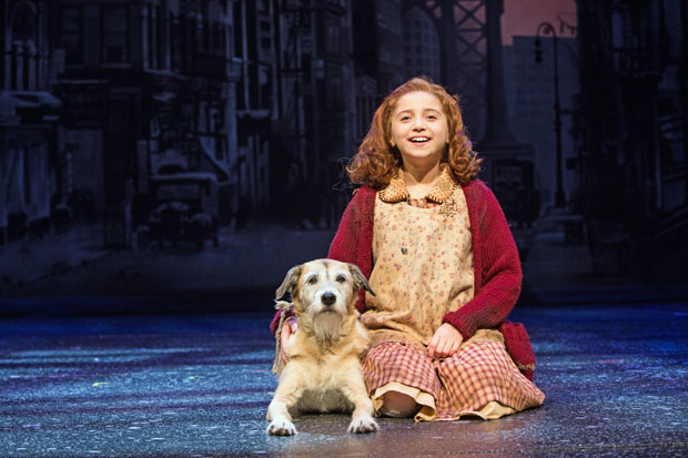 Peyton Ella (right) and Macy star as Annie and Sandy in Annie, directed by Mark S. Hoebee, at Paper Mill Playhouse.