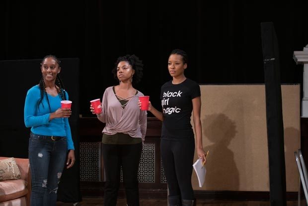 Celeste Cooper, Nora Carroll, and Leea Ayers star in BLKS, directed by Nataki Garrett, at Steppenwolf Theatre.