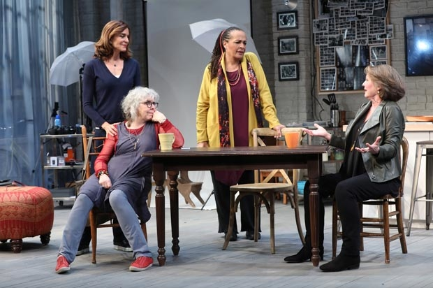 Polly Draper, Kathryn Grody, Franchelle Stewart Dorn, and Ellen Parker in a scene from 20th Century Blues, directed by Emily Mann, at Pershing Square Signature Center.
