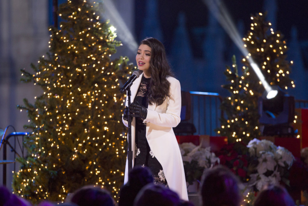 Auli'i Cravalho rehearses for the 2017 Christmas in Rockefeller Center special.