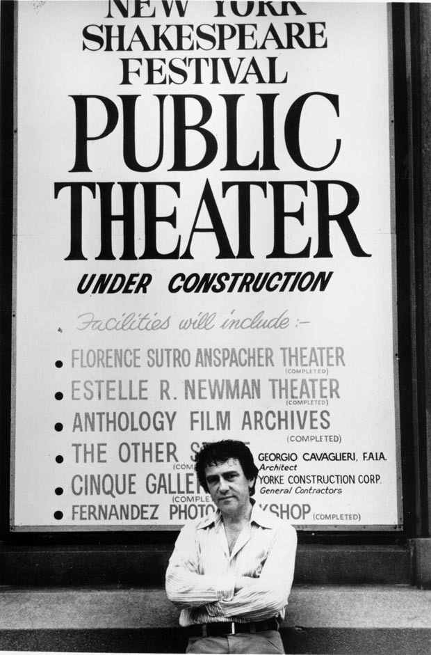 Joseph Papp and a marquee for the Public Theater.