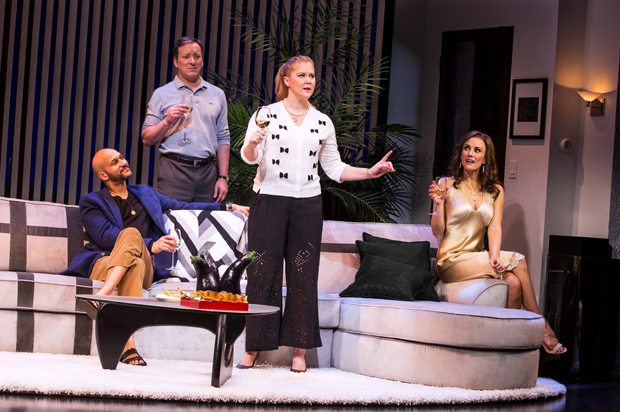 Keegan-Michael Key, Jeremy Shamos, Amy Schumer, and Laura Benanti star in Steve Martin's Meteor Shower, directed by Jerry Zaks, at the Booth Theatre.