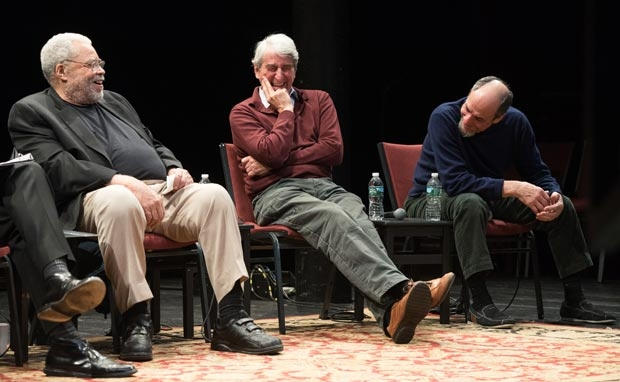 James Earl Jones, Sam Waterston, and F. Murray Abraham crack up during a discussion about King Lear at the Public Theater.