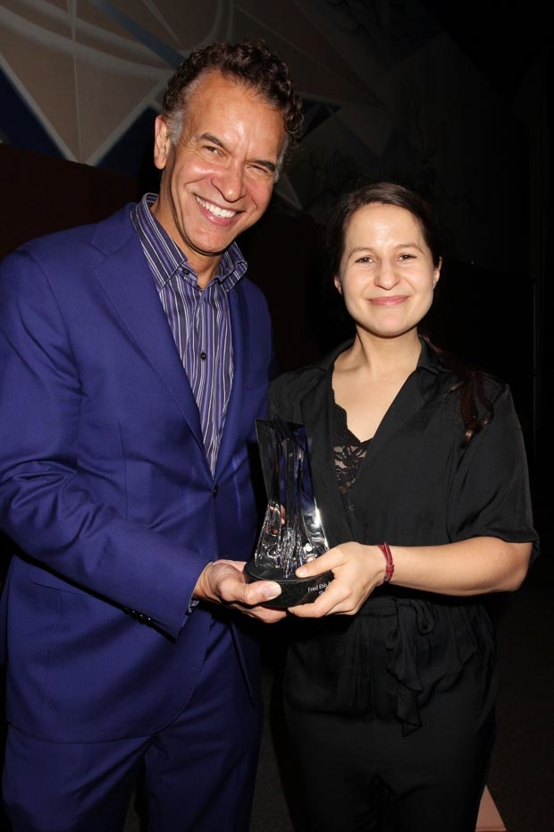 Brian Stokes Mitchell presents Shaina Taub with the Fred Ebb Award.