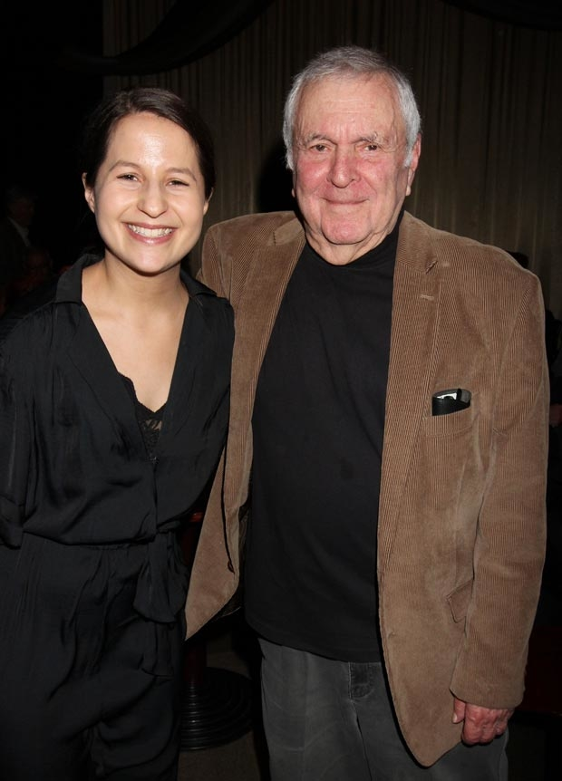 Shaina Taub grabs a photo with Fred Ebb's long time writing partner John Kander.