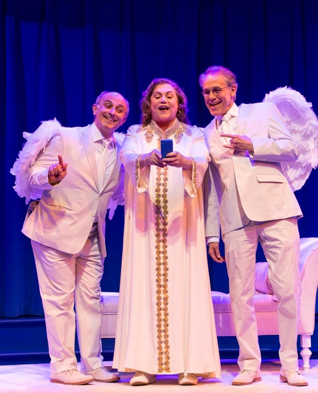 Stephen DeRosa, Kathleen Turner, and Jim Walton star in An Act of God, directed by David Saint, at George Street Playhouse.