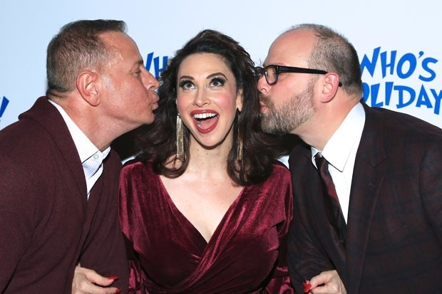 Playwright Matthew Lombardo, actress Lesli Margherita, and director Carl Andress celebrate opening night of Who's Holiday! at the Westside Theatre.