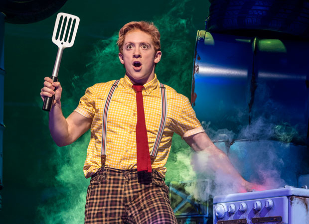Ethan Slater in SpongeBob SquarePants at the Palace Theatre.