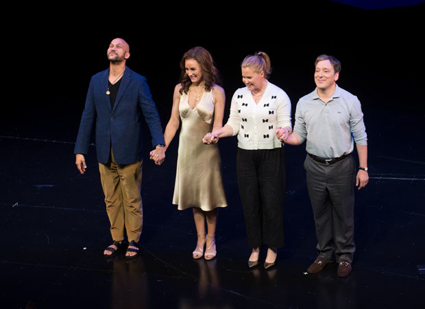 Keegan-Michael Key, Laura Benanti, Amy Schumer, and Jeremy Shamos take their bow as Meteor Shower opens at the Booth Theatre.