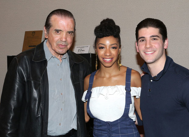 Chazz Plaminteri, Christiani Pitts, and Adam Kaplan celebrate the first anniversary of A Bronx Tale.