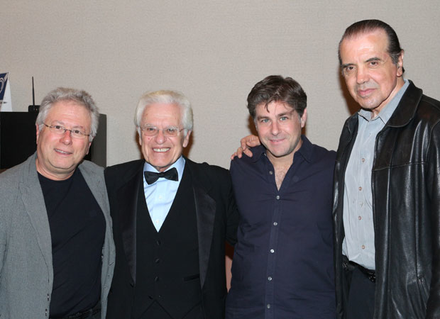 Alan Menken, Jerry Zaks, Glenn Slater, and Chazz Palminteri gather for a photo.