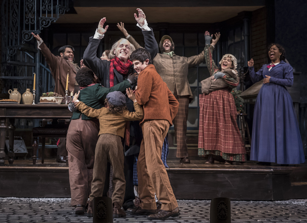 The cast of the 40th annual production of A Christmas Carol, directed by Henry Wishcamper, at Goodman Theatre.