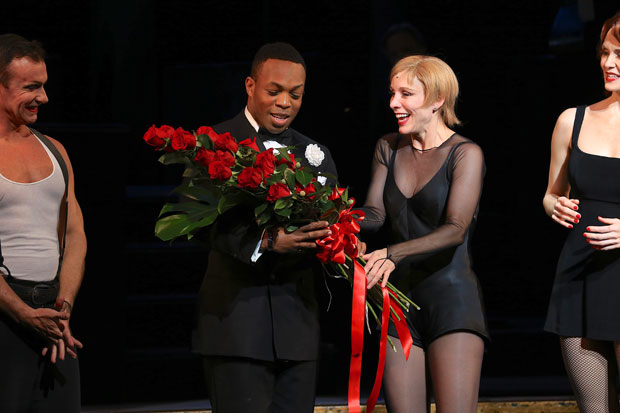The cast welcomed Todrick Hall with flowers.