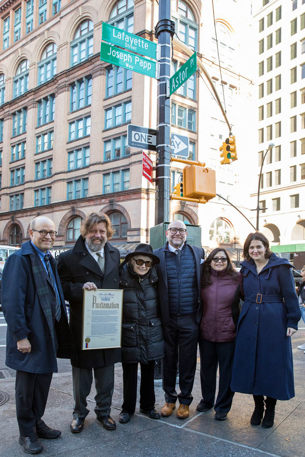 Joseph Papp Way was officially named in a ceremony held today.