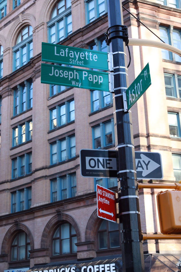 The corner of Lafayette and Astor Place is now Joseph Papp Way.