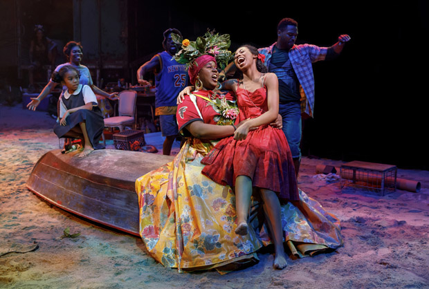 Alex Newell (Asaka) and Hailey Kilgore (Ti Moune) in a scene from the Broadway revival of Once on This Island, directed by Michael Arden, at Circle in the Square Theatre.