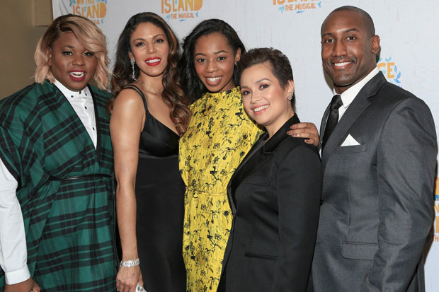 Once on this Island stars Alex Newell, Merle Dandridge, Hailey Kilgore, Lea Salonga, and Quentin Earl Darrington celebrate opening night at the Circle in the Square Theatre.