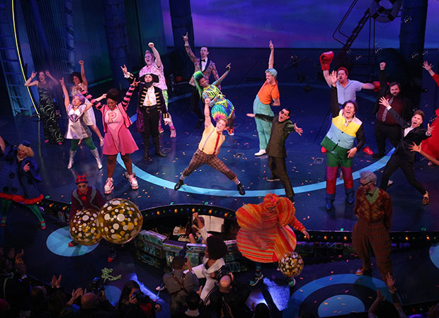 Curtain call at the opening of SpongeBob SquarePants at the Palace Theatre.