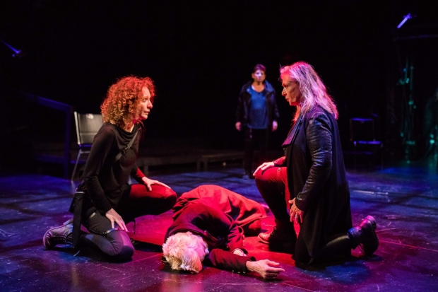 Marianna Bassham (Marc Anthony), Liz Adams (Caesar),  Marya Lowry (Brutus), and Bobbie Steinbach (Cassius) in a scene from Actors' Shakespeare Project's Julius Caesar.