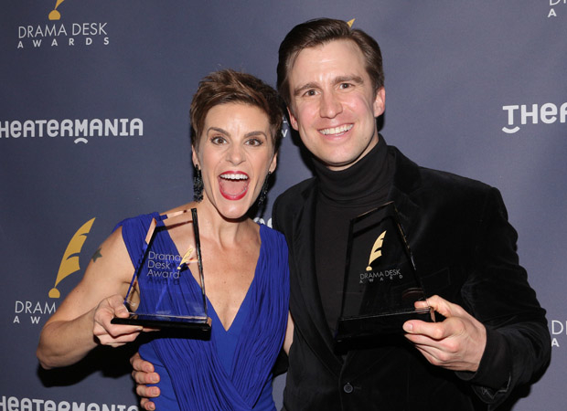 Jenn Colella and Gavin Creel with their 2017 Drama Desk Awards for Come From Away and Hello, Dolly!
