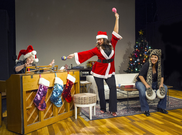 Sandra Valls, Maria Russell, and Diana Yanez in The Latina Christmas Special, directed by Geoffrey Rivas, at the Los Angeles Theatre Center.