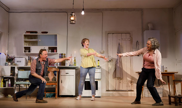 Ron Cook, Deborah Findlay, and Francesca Annis star in The Children, directed by James Macdonald, at the Samuel J. Friedman Theatre.