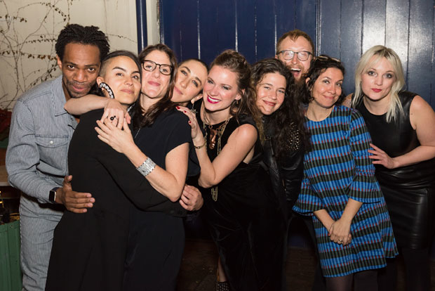 The Hundred Days team celebrates opening night at New York Theatre Workshop.