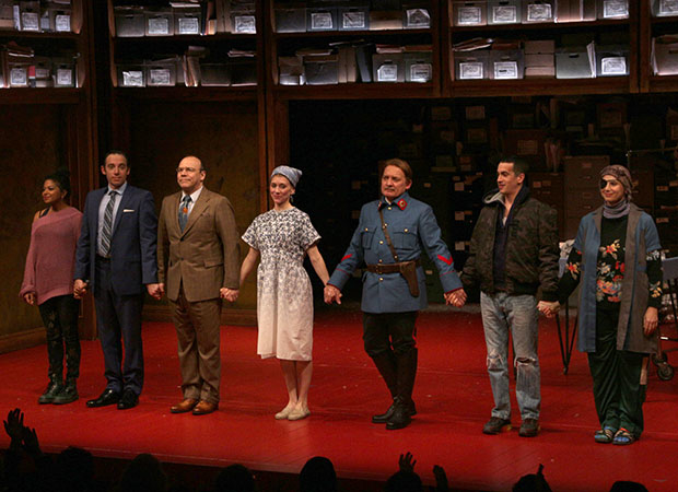 The cast of Describe the Night take a bow at curtain call.