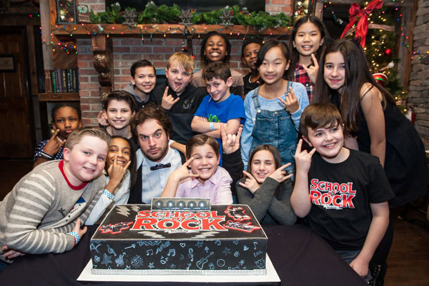Justin Collette and the kids of School of Rock celebrate two years on Broadway.
