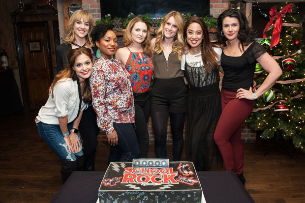 Eve Marinacci, Analisa Leaming, Badia Farha, Cassie Okenka, Lulu Lloyd, Jaygee Macapugay, and Natalie Charle Ellis celebrate School of Rock's anniversary.