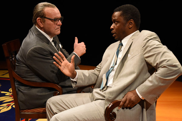 Jack Willis as LBJ and Bowman Wright as Martin Luther King, Jr. in the 2016 Arena Stage production of All the Way. Both will reprise their roles in the upcoming production of The Great Society.
