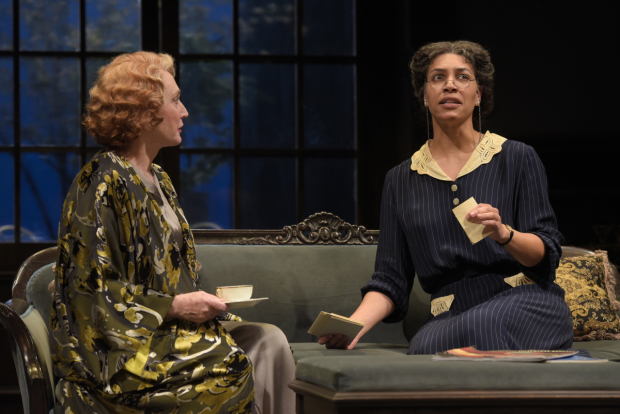 Caitlin O'Connell (Fanny Farrelly) and Leontyne Mbele-Mbong (Anise) in Lillian Hellman's Watch on the Rhine, directed by Lisa Peterson, at Berkeley Repertory Theatre.