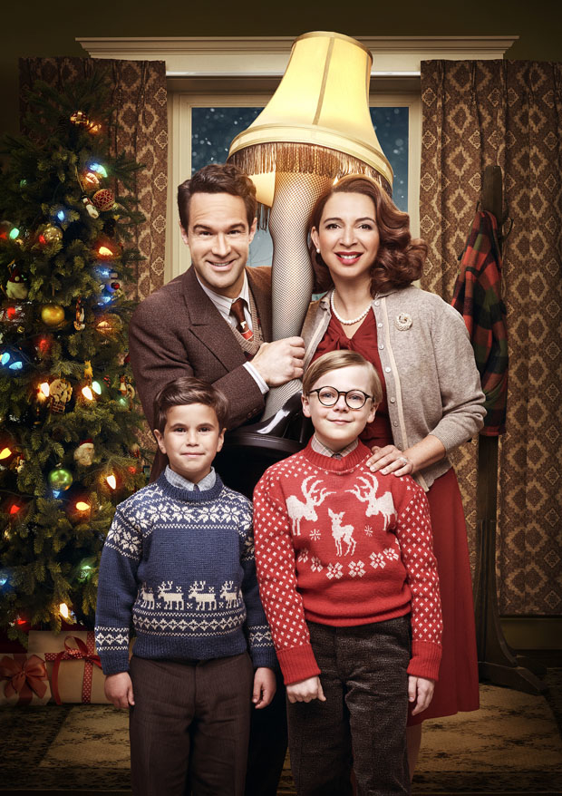Chris Diamantopoulos, Maya Rudolph, Andy Walken and Tyler Wladis in a promotional image for A Christmas Story Live!