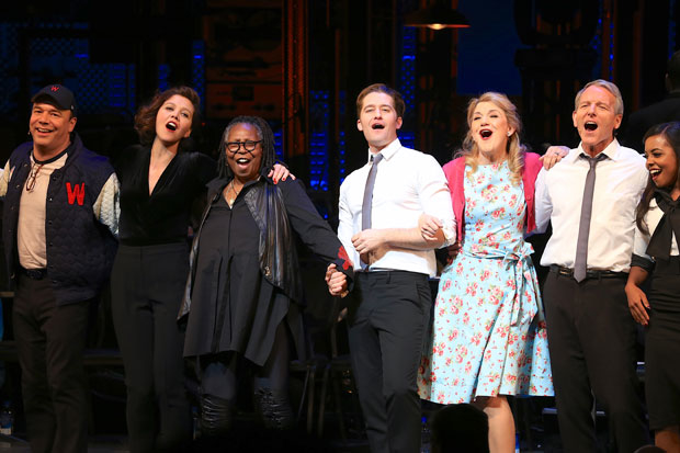 The cast of Roundabout Theatre Company's benefit concert reading of Damn Yankees sing together at curtain call.