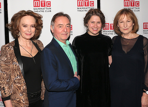 Playwright Lucy Kirkwood (second from right) joins cast members Francesca Annis, Ron Cook, and Deborah Findlay for a photo.