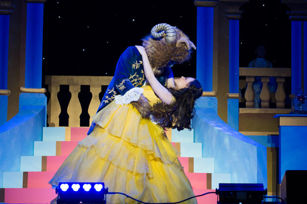 Jonah Platt and Kelli Berglund dance together in a scene from Beauty and the Beast - A Christmas Rose.