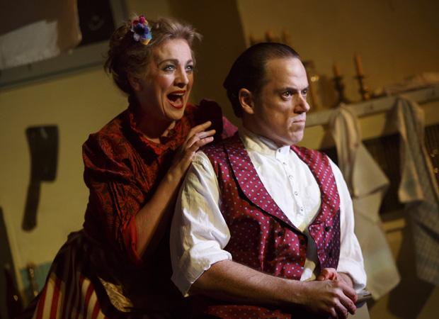 Siobhán McCarthy and Jeremy Secomb in the Tooting Arts Club production of Sweeney Todd at the Barrow Street Theatre.