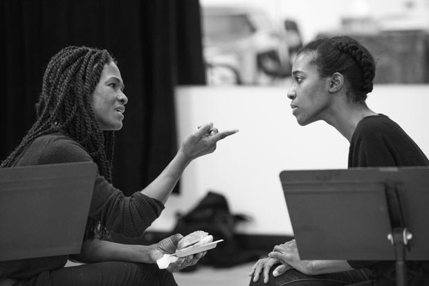 Patrice Johnson discusses a scene with Awoye Timpo.