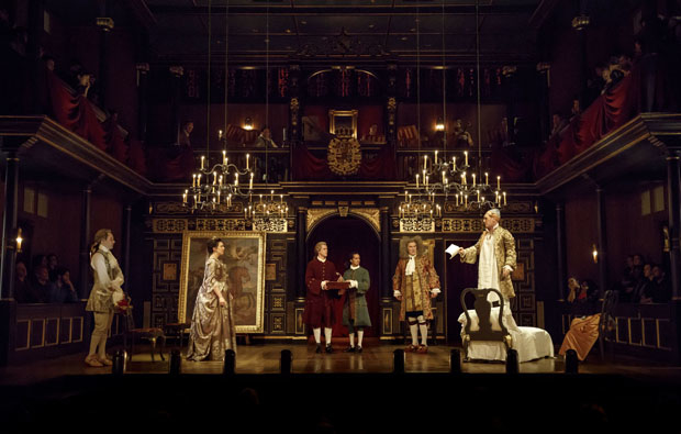 Sam Crane, Melody Grove, Lucas Hall, Huss Garbiya, Edward Peel, and Mark Rylance appear in Claire van Kampen's Farinelli and the King.