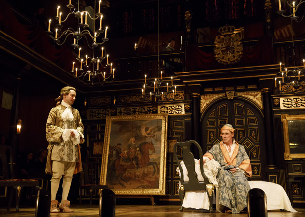 Farinelli (Sam Crane) meets with King Philippe V (Mark Rylance) in Farinelli and the King.