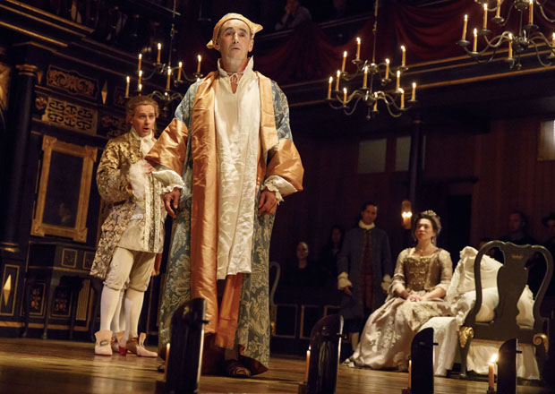 Iestyn Davies, Mark Rylance, and Melody Grove star in Claire van Kampen's Farinelli and the King, directed by John Dove, at Broadway's Belasco Theatre.