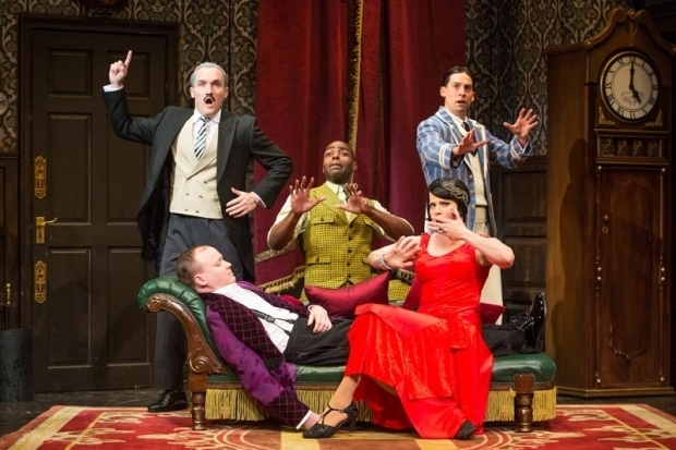 The Broadway cast of The Play That Goes Wrong.