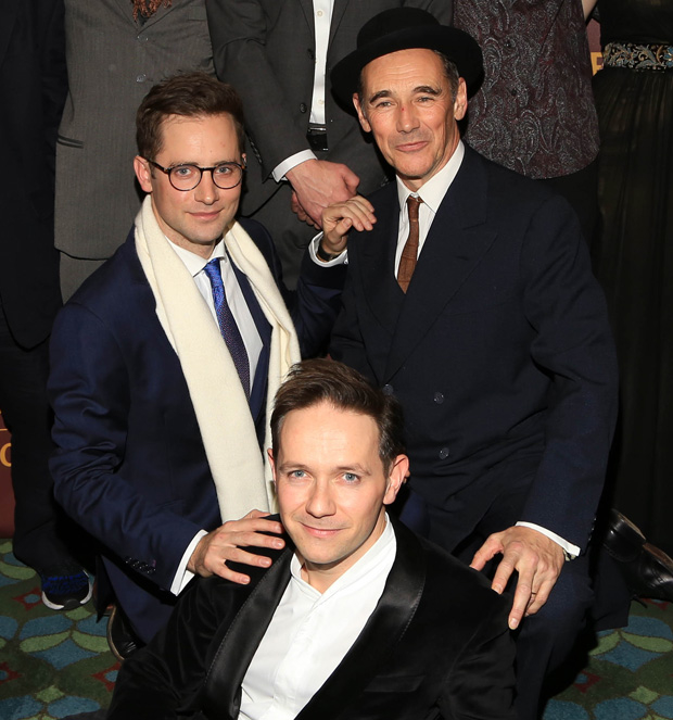 Sam Crane, Iestyn Davies, and Mark Rylance at the opening of Farinelli and the King on Broadway.