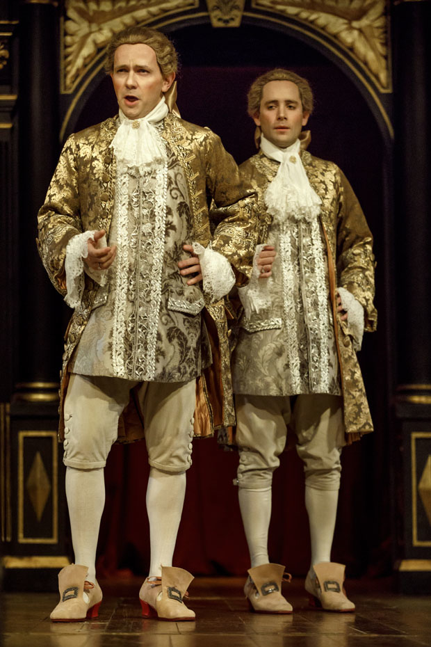 Iestyn Davies and Sam Crane in Farinelli and the King at the Belasco Theatre.