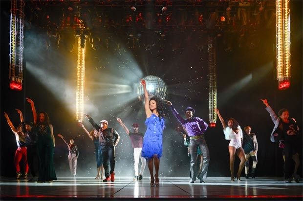 Ariana DeBose (center) as Disco Donna with the cast of La Jolla Playhouse's world premiere of Summer: The Donna Summer Musical.
