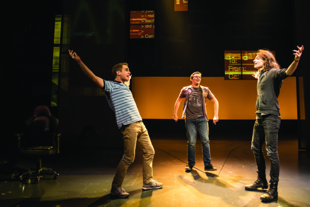 Ben Platt, Will Roland, and Mike Faist in the original Broadway cast of Dear Evan Hansen.
