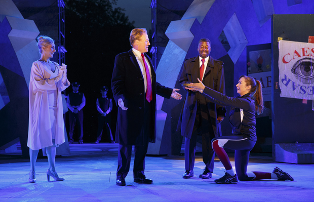 Tina Benko, Gregg Henry, Teagle F. Bougere, and Elizabeth Marvel starred in the 2017 Shakespeare in the Park production of Julius Caesar.