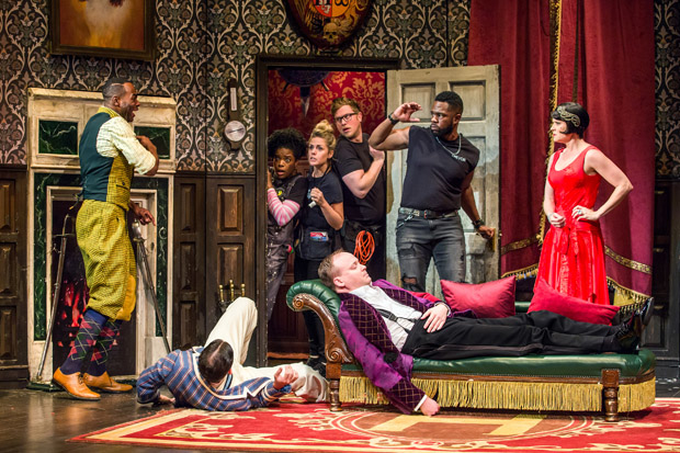 Clifton Duncan, Alex Mandell (on floor), Ashley Bryant, Katie Sexton, Ned Noyes, Jonathan Fielding, Akron Watson, and Amelia McClain star in ''The Play That Goes Wrong, directed by Mark Bell for Mischief Theatre at Broadway's Lyceum Theatre.