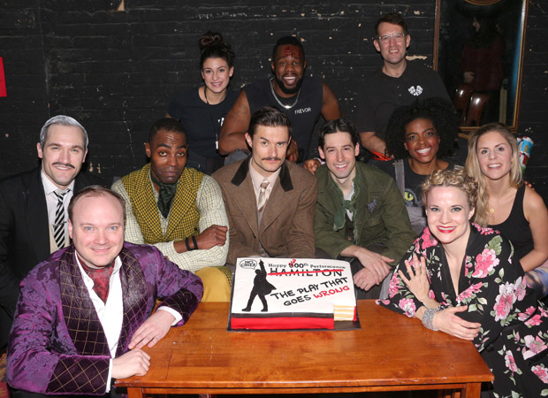 The cast of The Play That Goes Wrong celebrates their 300th performance at the Lyceum Theatre.